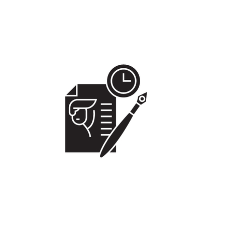 Writing resume black vector concept icon. Writing resume flat illustration, sign, symbol