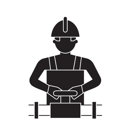 Worker spinning the valve black vector concept icon. Worker spinning the valve flat illustration, sign, symbol 向量圖像