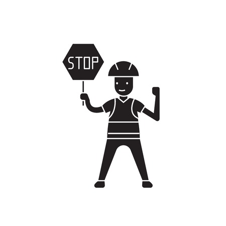 Worker with a stop sign black vector concept icon. Worker with a stop sign flat illustration, sign, symbol Ilustracja