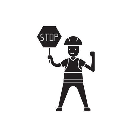 Worker with a stop sign black vector concept icon. Worker with a stop sign flat illustration, sign, symbol Zdjęcie Seryjne - 126867114