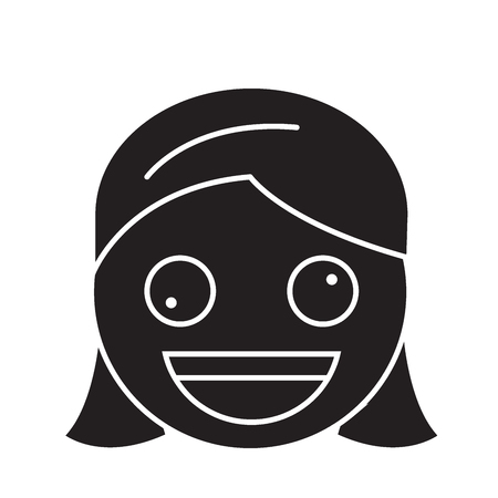 Zany face emoji black vector concept icon. Zany face emoji flat illustration, sign, symbol 일러스트