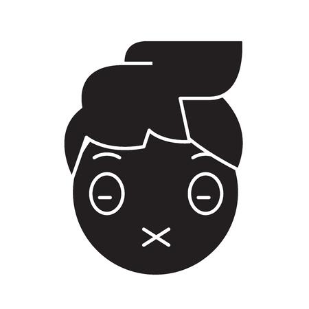 Zipped mouth emoji black vector concept icon. Zipped mouth emoji flat illustration, sign, symbol Illustration
