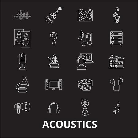 Acoustics editable line icons vector set on black background. Acoustics white outline illustrations, signs,symbols