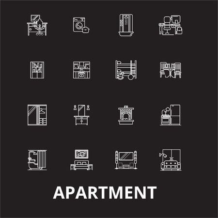 Apartment editable line icons vector set on black background. Apartment white outline illustrations, signs,symbols