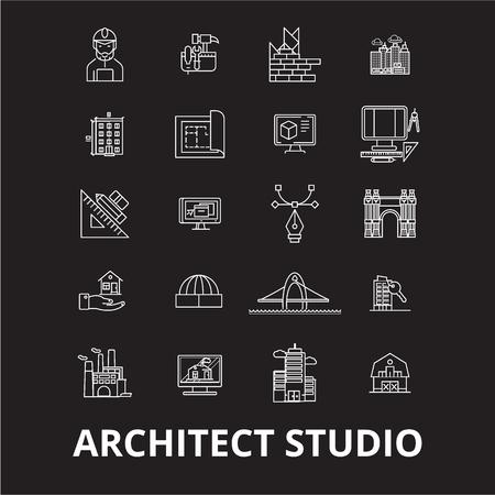 Architect studio editable line icons vector set on black background. Architect studio white outline illustrations, signs,symbols Illustration
