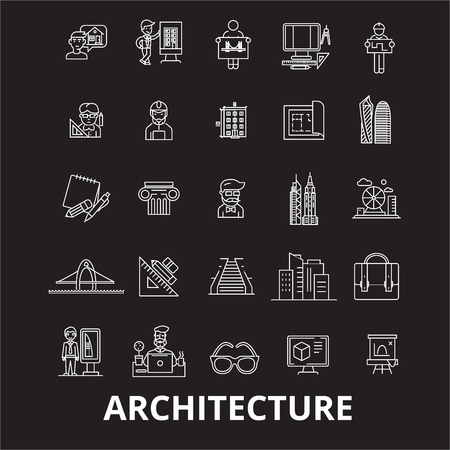 Architecture editable line icons vector set on black background. Architecture white outline illustrations, signs,symbols Banque d'images - 126636438