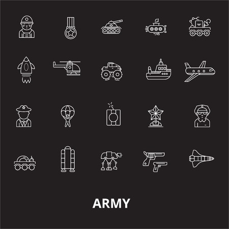 Army editable line icons vector set on black background. Army white outline illustrations, signs,symbols Ilustrace
