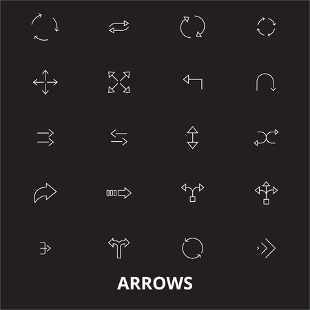 Arrows editable line icons vector set on black background. Arrows white outline illustrations, signs,symbols