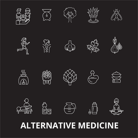 Alternative medicine editable line icons vector set on black background. Alternative medicine white outline illustrations, signs,symbols