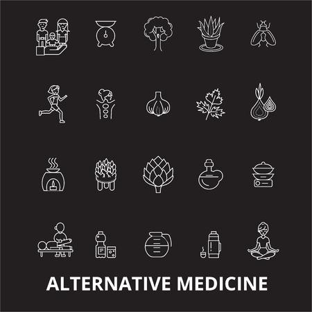 Vecteur d'icônes de ligne modifiable de médecine alternative sur fond noir. Illustrations, signes, symboles de contour blanc de médecine alternative