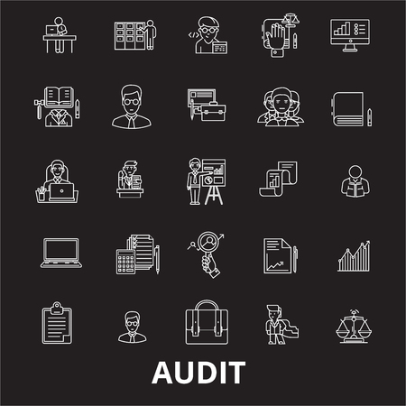 Audit editable line icons vector set on black background. Audit white outline illustrations, signs,symbols