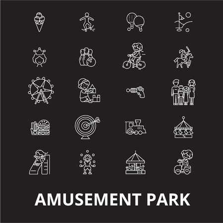 Amusement park editable line icons vector set on black background. Amusement park white outline illustrations, signs,symbols Ilustração