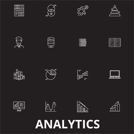 Analytics editable line icons vector set on black background. Analytics white outline illustrations, signs,symbols