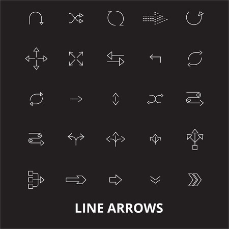 Arrows line editable line icons vector set on black background. Arrows line white outline illustrations, signs,symbols