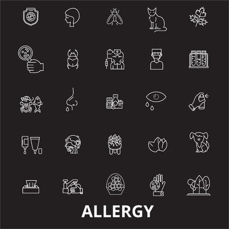 Allergy editable line icons vector set on black background. Allergy white outline illustrations, signs,symbols