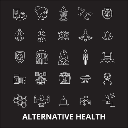 Alternative health editable line icons vector set on black background. Alternative health white outline illustrations, signs,symbols