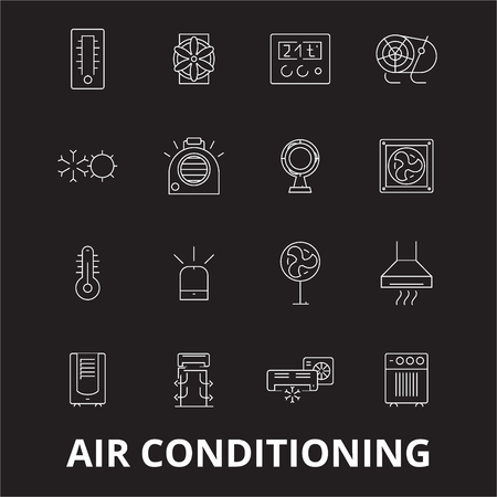Air conditioning editable line icons vector set on black background. Air conditioning white outline illustrations, signs,symbols