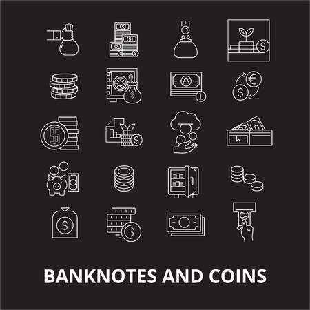 Banknotes and coins editable line icons vector set on black background. Banknotes and coins white outline illustrations, signs,symbols
