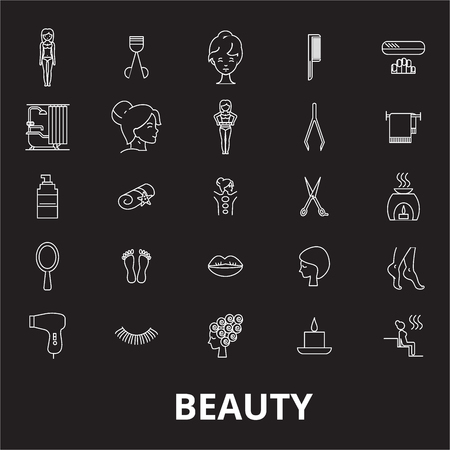 Beauty editable line icons vector set on black background. Beauty white outline illustrations, signs,symbols