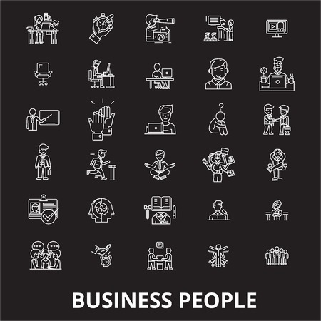Business people editable line icons vector set on black background. Business people white outline illustrations, signs,symbols 向量圖像