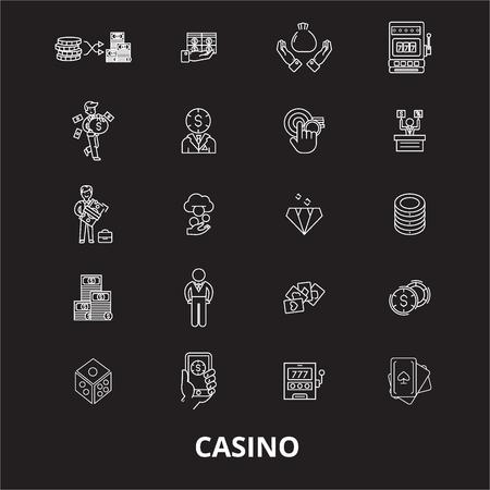 Casino editable line icons vector set on black background. Casino white outline illustrations, signs,symbols Иллюстрация