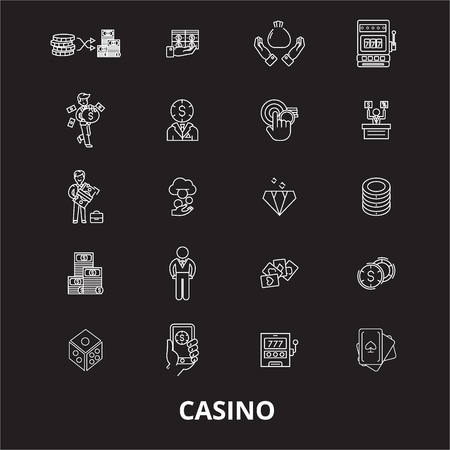 Casino editable line icons vector set on black background. Casino white outline illustrations, signs,symbols Illustration