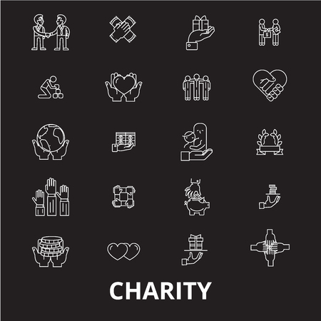 Charity editable line icons vector set on black background. Charity white outline illustrations, signs,symbols Illustration