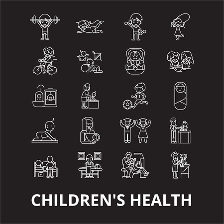 Childrens health editable line icons vector set on black background. Childrens health white outline illustrations, signs,symbols Archivio Fotografico - 114822338