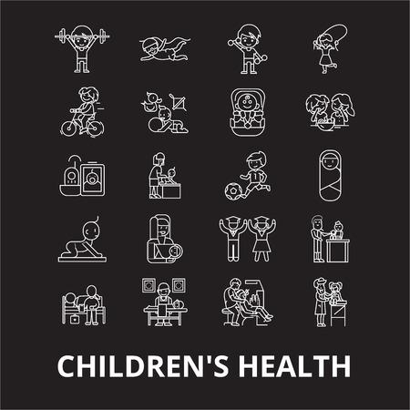 Childrens health editable line icons vector set on black background. Childrens health white outline illustrations, signs,symbols Illustration
