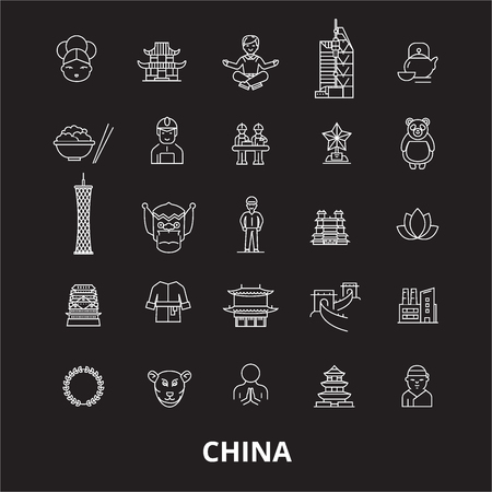 China editable line icons vector set on black background. China white outline illustrations, signs,symbols 向量圖像