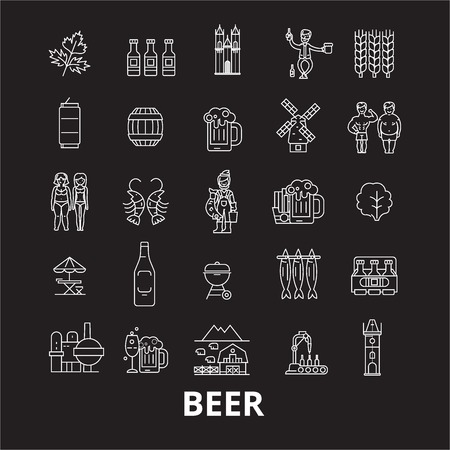 Beer editable line icons vector set on black background. Beer white outline illustrations, signs,symbols Stock Vector - 126636457