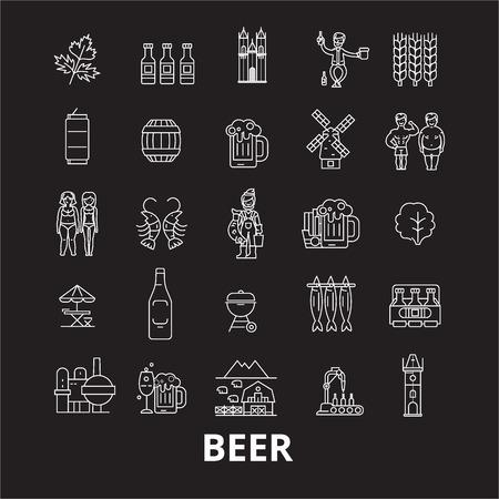Beer editable line icons vector set on black background. Beer white outline illustrations, signs,symbols