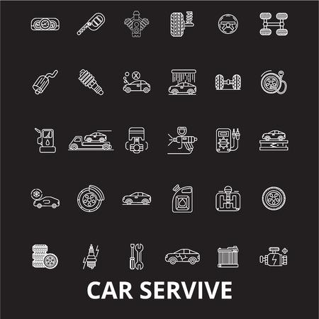Car service editable line icons vector set on black background. Car service white outline illustrations, signs,symbols