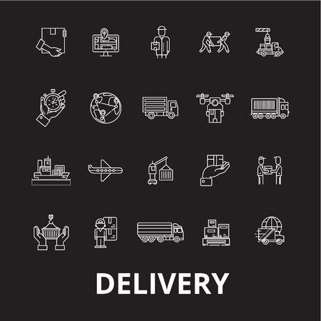 Delivery editable line icons vector set on black background. Delivery white outline illustrations, signs,symbols Illustration