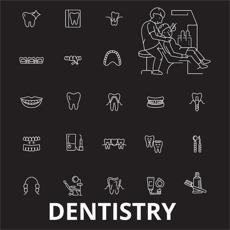 Dentistry editable line icons vector set on black background. Dentistry white outline illustrations, signs,symbols