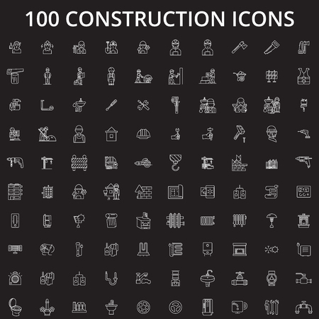 Construction editable line icons vector set on black background. Construction white outline illustrations, signs,symbols