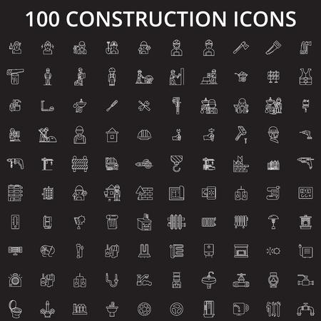 Vecteur d'icônes de ligne modifiable de construction sur fond noir. Illustrations, signes, symboles de contour blanc de construction