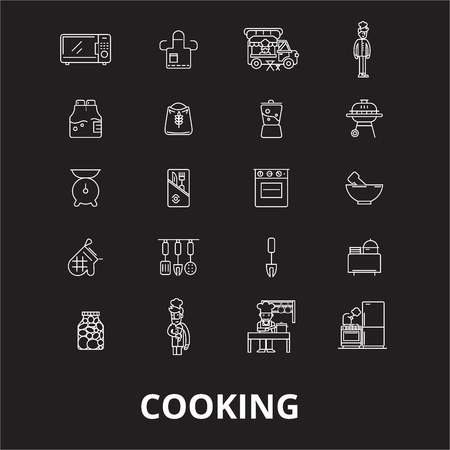 Cooking editable line icons vector set on black background. Cooking white outline illustrations, signs,symbols