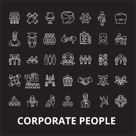 Corporate people editable line icons vector set on black background. Corporate people white outline illustrations, signs,symbols