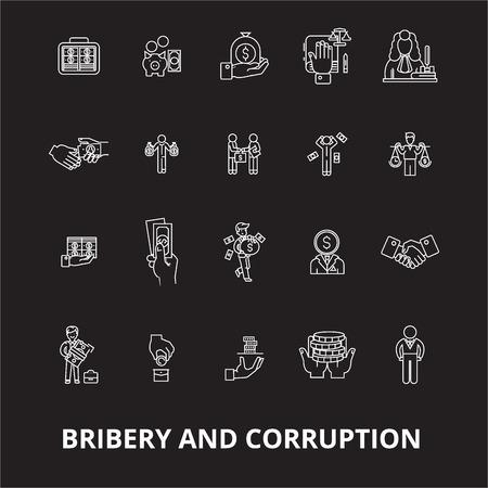 Bestechung und Korruption bearbeitbare Linie Icons Vektor auf schwarzem Hintergrund gesetzt. Bestechung und Korruption weißer Umriss Abbildungen, Zeichen, Symbole