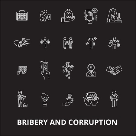 Bribery and corruption editable line icons vector set on black background. Bribery and corruption white outline illustrations, signs,symbols Illusztráció