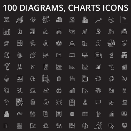 Diagrams, charts editable line icons vector set on black background. Diagrams, charts white outline illustrations, signs,symbols