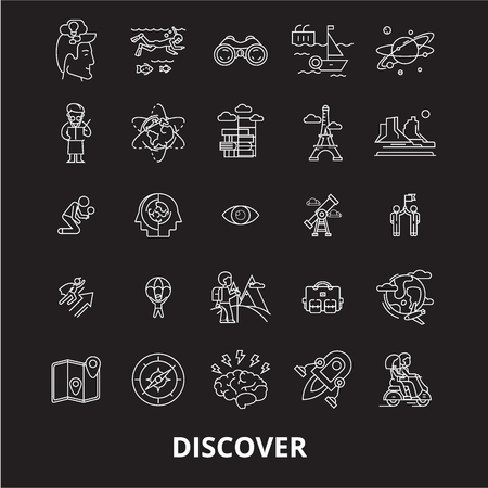 Discover editable line icons vector set on black background. Discover white outline illustrations, signs,symbols