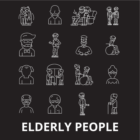 Elderly people editable line icons vector set on black background. Elderly people white outline illustrations, signs,symbols
