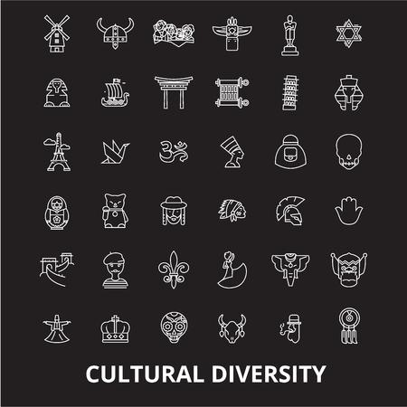 La diversità culturale della linea modificabile vettore icone impostato su sfondo nero. La diversità culturale profilo bianco illustrazioni, segni, simboli