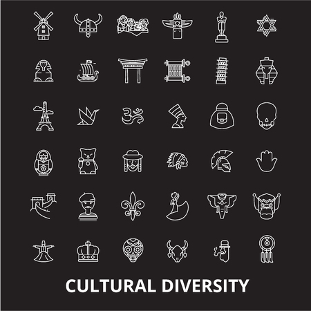 Cultural diversity editable line icons vector set on black background. Cultural diversity white outline illustrations, signs,symbols