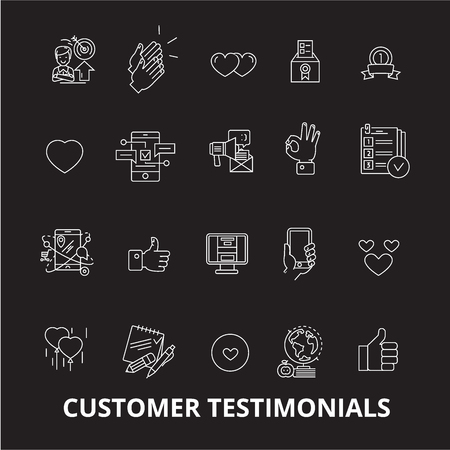 Customer testimonials editable line icons vector set on black background. Customer testimonials white outline illustrations, signs,symbols