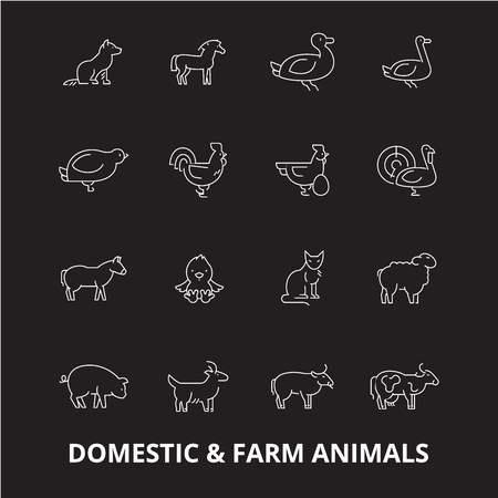 Domestic farm animals editable line icons vector set on black background. Domestic farm animals white outline illustrations, signs,symbols