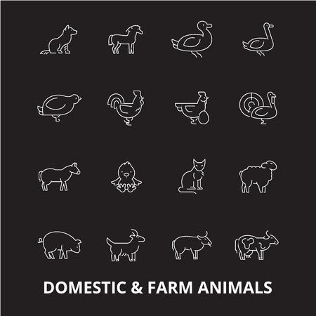 Domestic farm animals editable line icons vector set on black background. Domestic farm animals white outline illustrations, signs,symbols