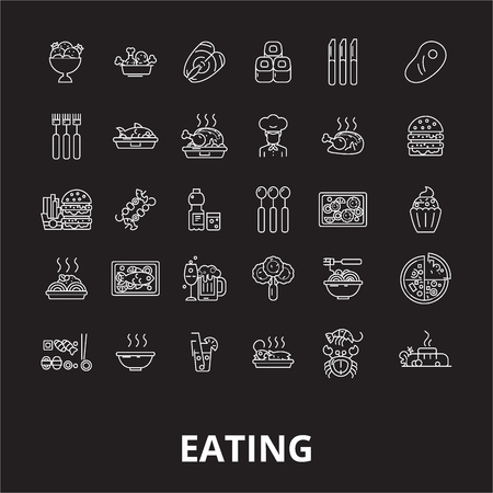 Eating editable line icons vector set on black background. Eating white outline illustrations, signs,symbols